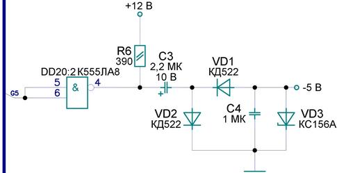 Не скажите из-за чего может не работать данный преобразователь +12 В -5 В. Подаваемая частота G5 - 31,25 кГц.